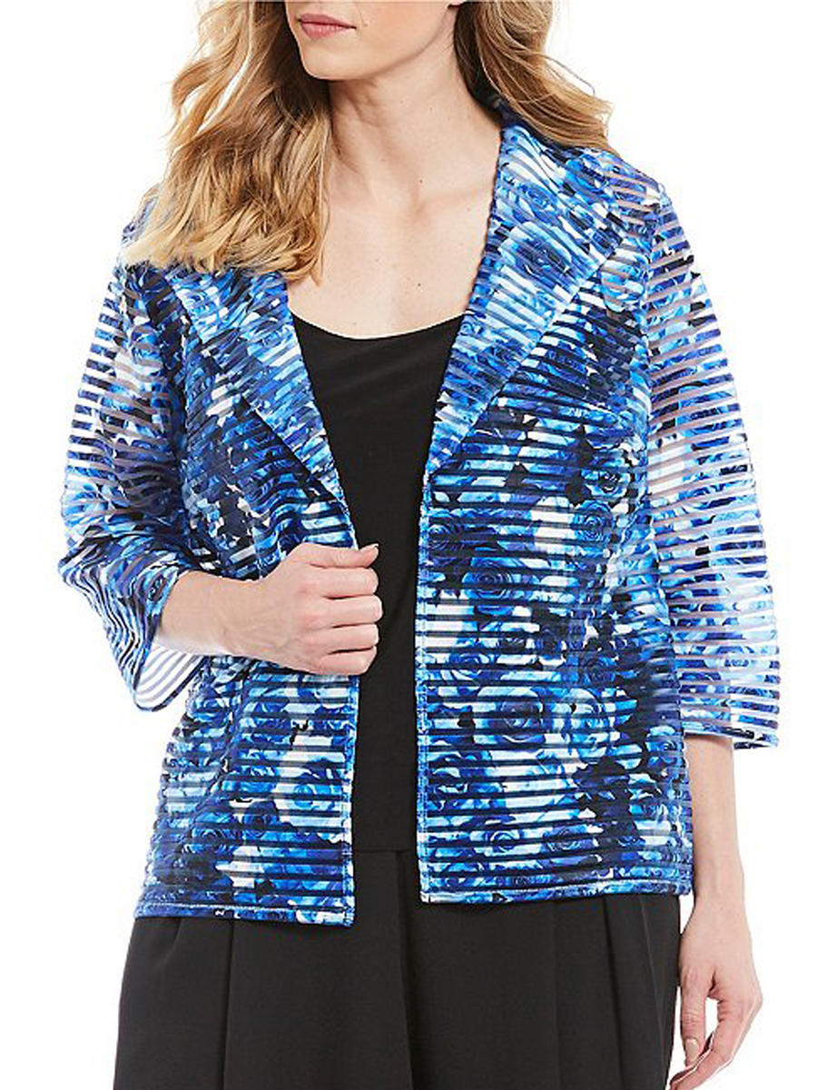 ALEX APPAREL GROUP INC - Pleated Print Jacket & Camisole Set
