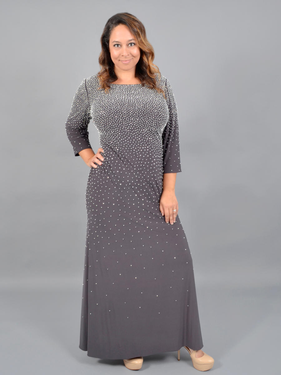 ALEX APPAREL GROUP INC - Long Sleeve Jersey Bead Gown