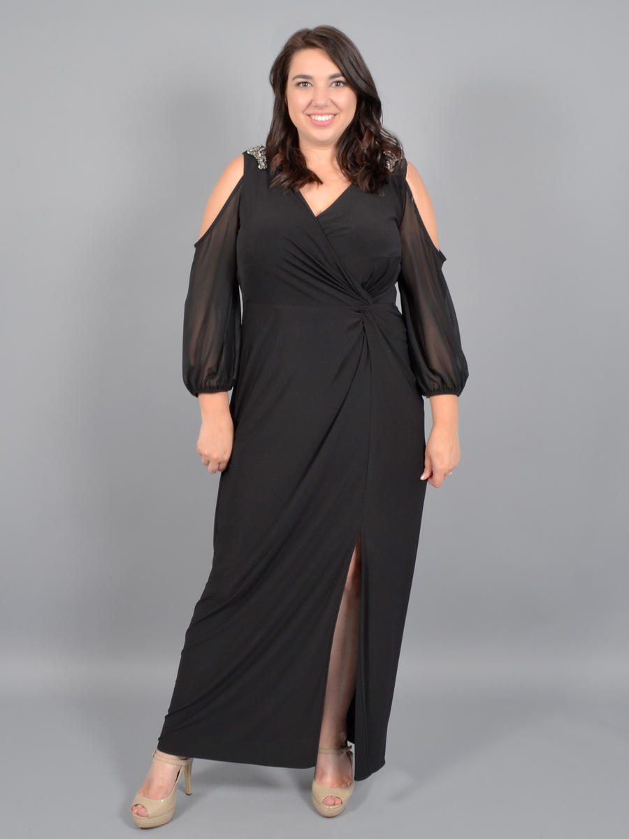 ALEX APPAREL GROUP INC - Sheer Long Sleeve Gown-Bead Trim