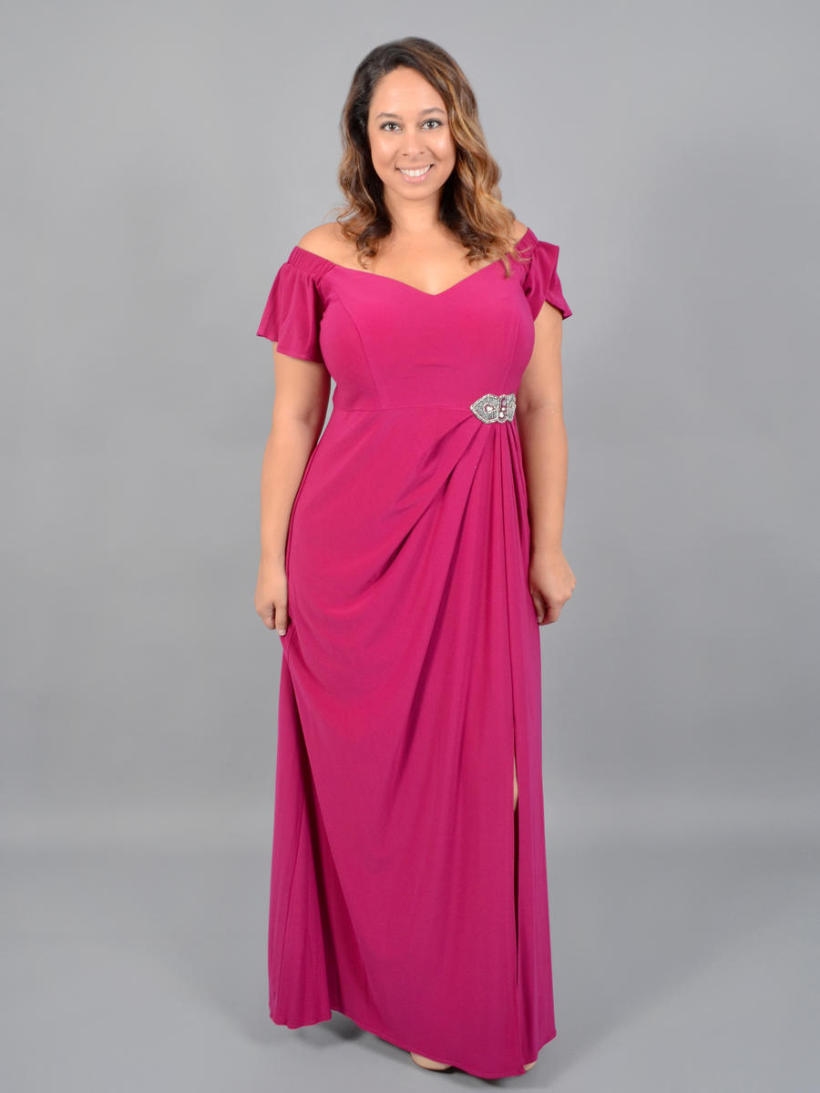 ALEX APPAREL GROUP INC - Off Shoulder Wrap Gown-Bead Trim