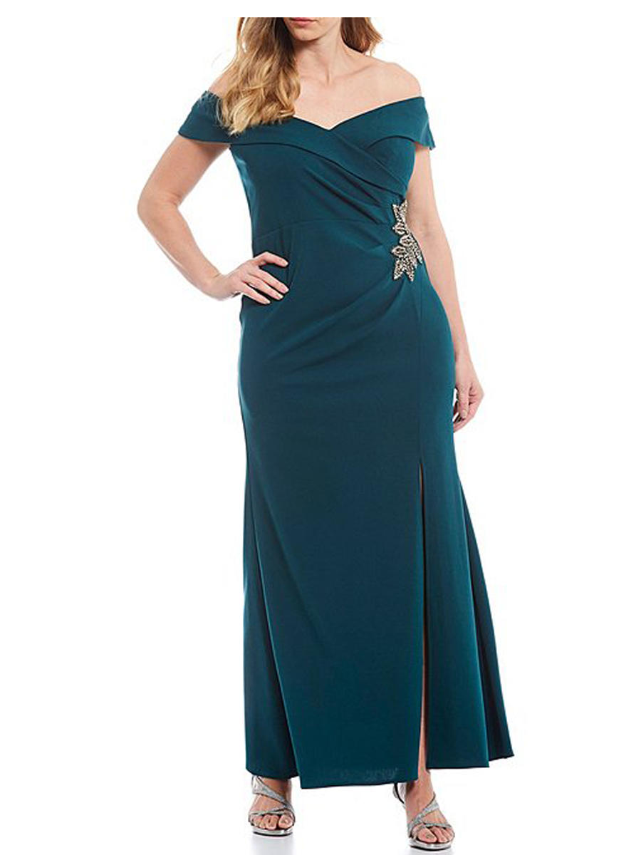 ALEX APPAREL GROUP INC - Off Shoulder Gown-Bead Wrap Waist