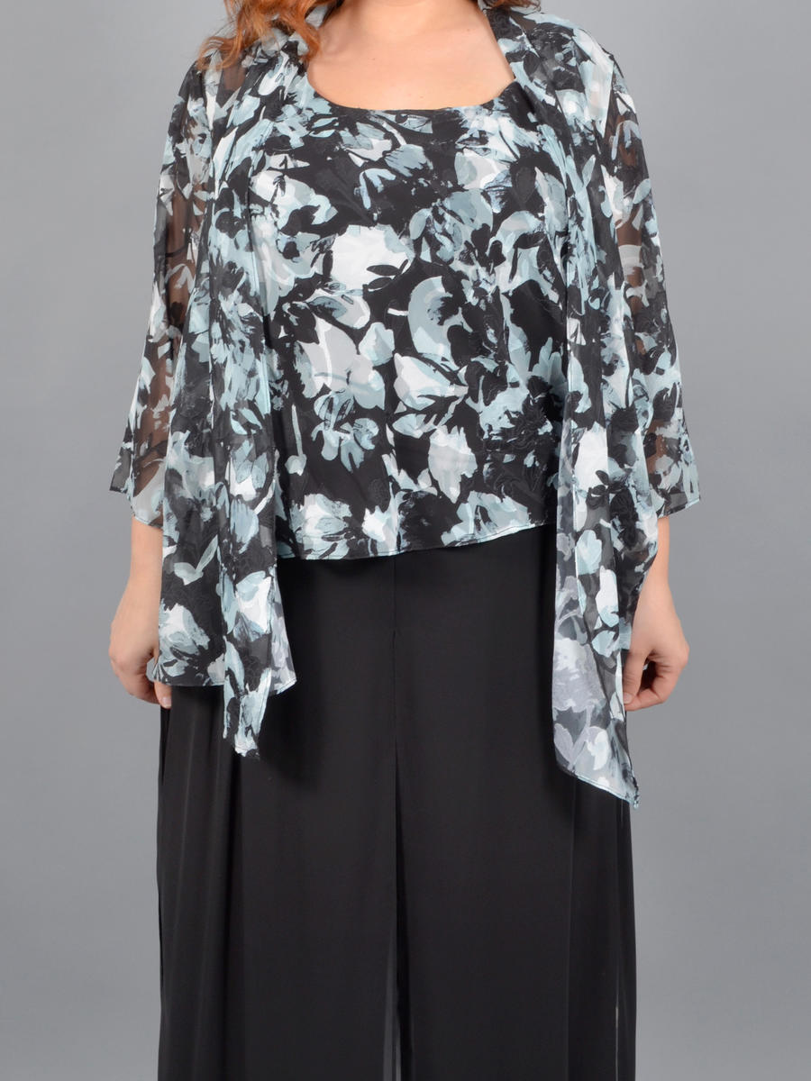 ALEX APPAREL GROUP INC - Floral Print Chiffon Camisole & Jacket Set