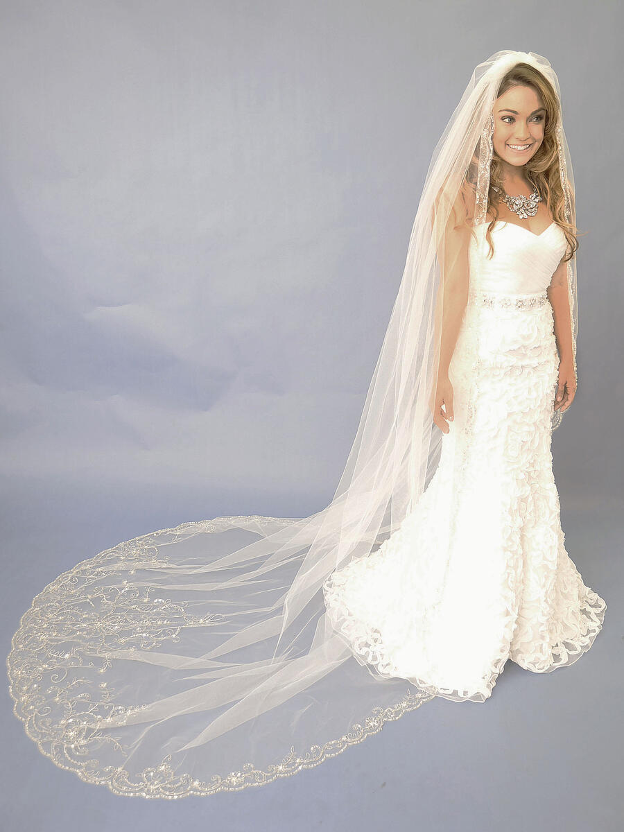 ANSONIA BRIDAL VEIL - CATHEDRAL/SCROLL EMBROID