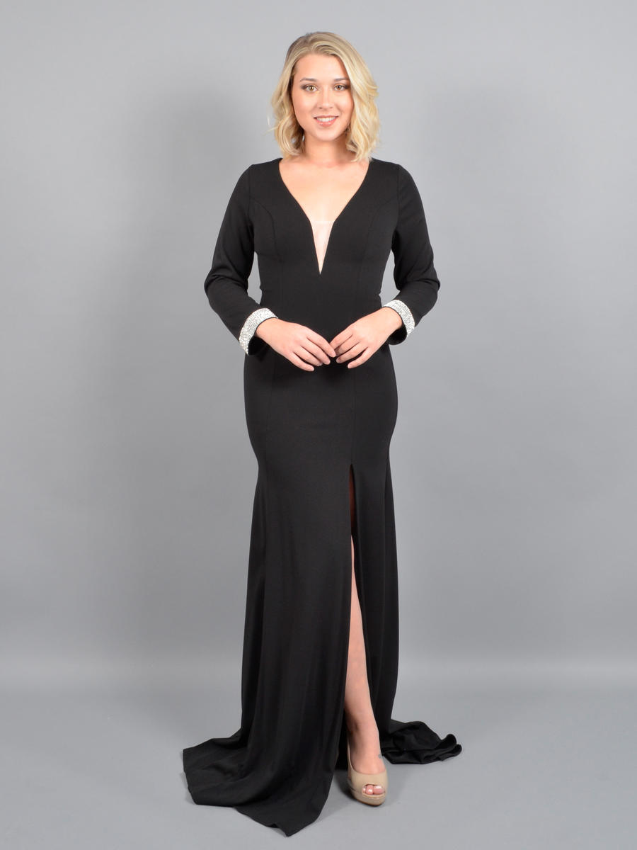 ASPEED - Long Sleeve Satin Gown-Bead Trim