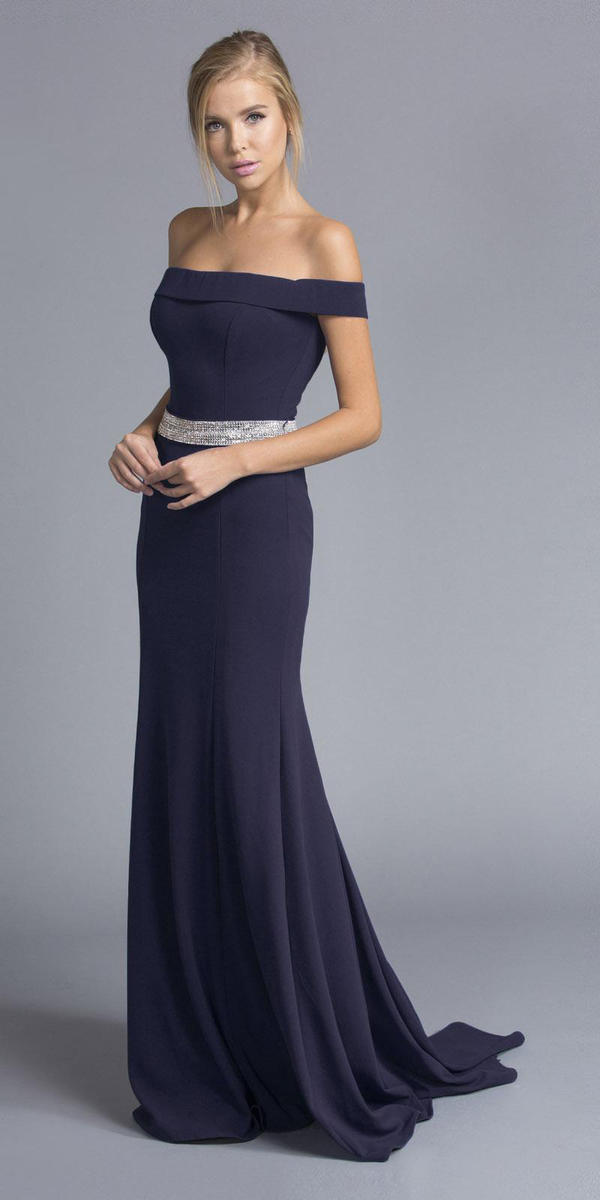 ASPEED - Off Shoulder Chiffon Gown w/Rhinestone Belt