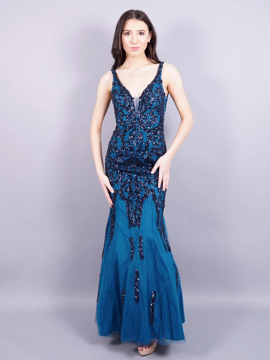 ASPEED - Tulle and Sequin Gown-Open Back-Shawl