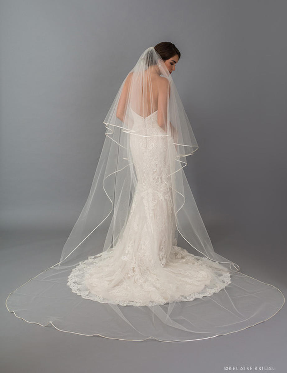 BELAIRE BRIDAL - Foldover Cathedral With Ribbon Bias Edge Vail