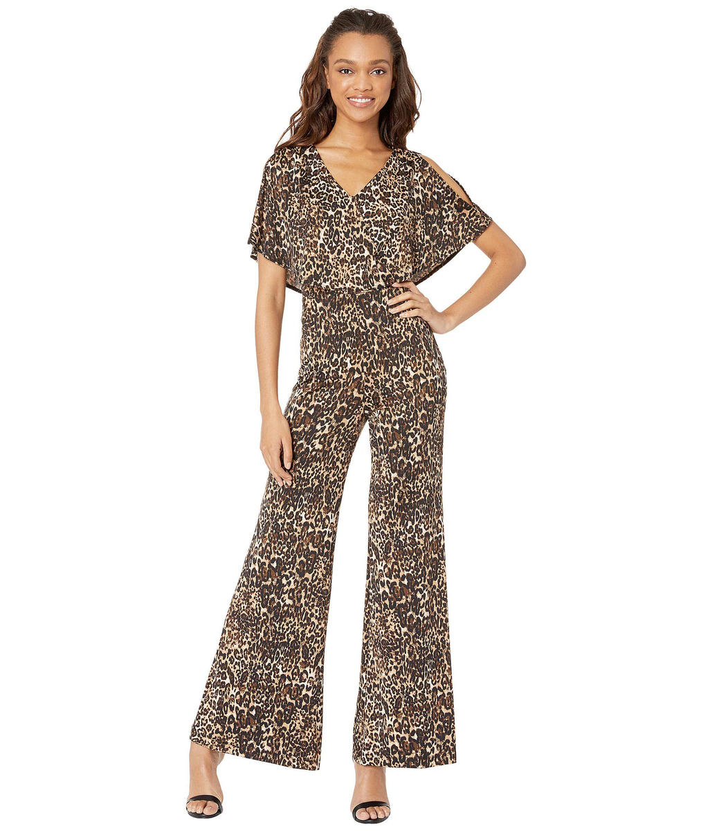 BEBE - Animal Print Cold-Shoulder Jumpsuit