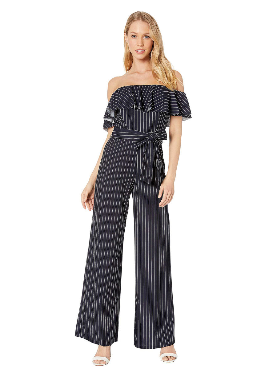 BEBE - Pinstripe Lycra Off-Shoulder Jumpsuit