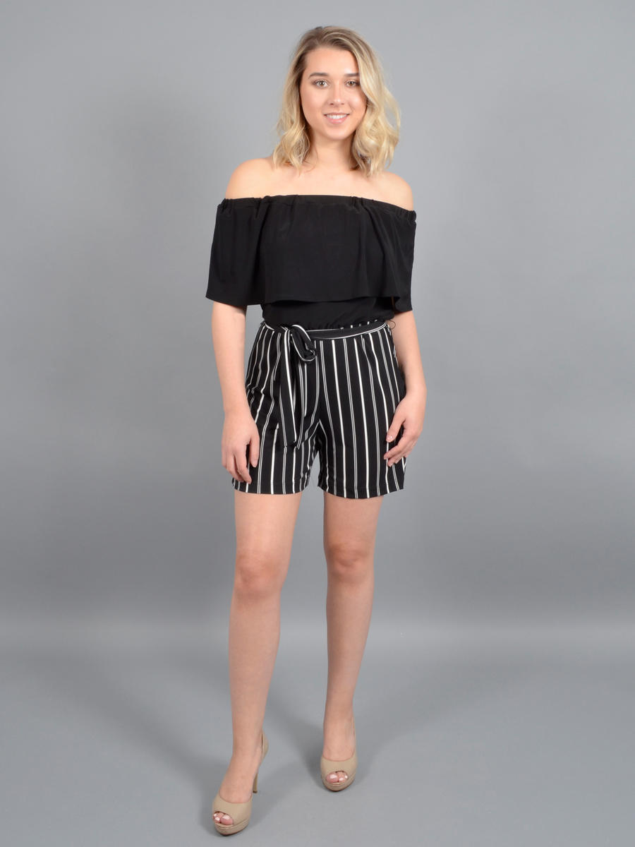 BEBE - Off-Shoulder Lycra Pinstripe Jumpsuit