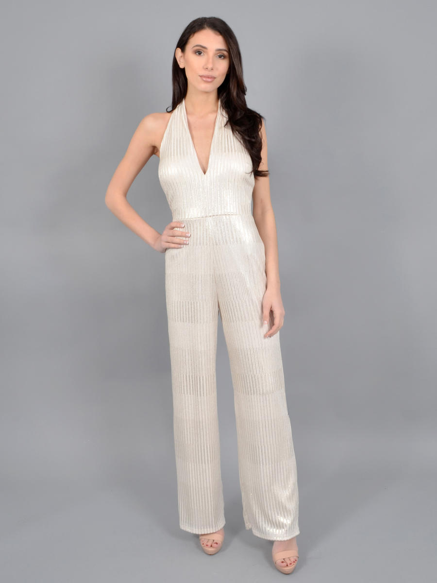 BEBE - Metallic Halter Neck Jumpsuit