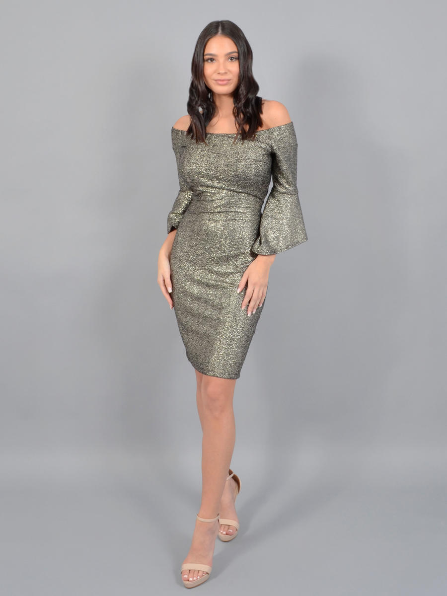 BEBE - Off Shouder Long Sleeve Metallic Dress