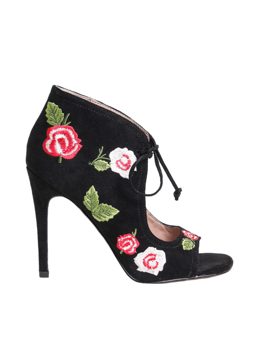BETSEY JOHNSON     div of STEVE MADDEN - Suede Floral Open Toe Bootie