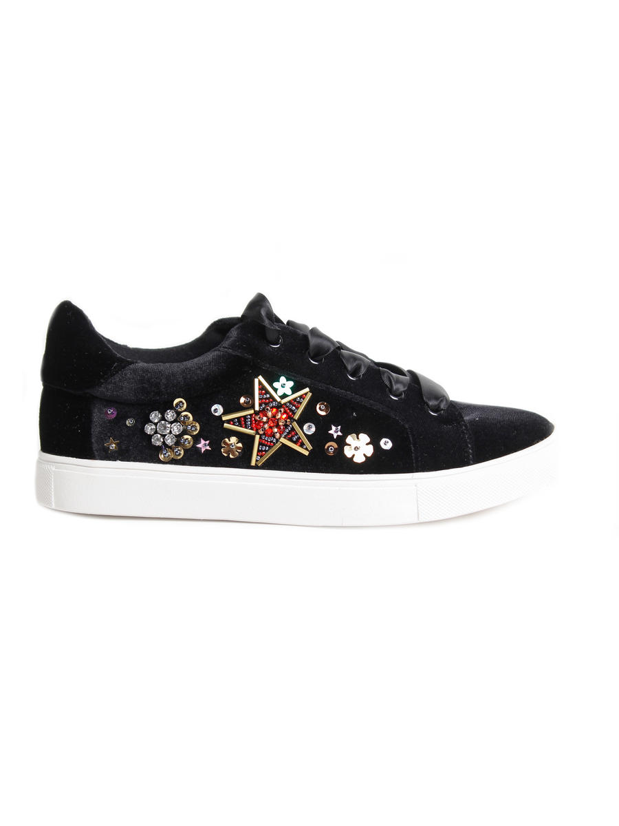 BETSEY JOHNSON     div of STEVE MADDEN - Velvet Beaded Platform Sneaker