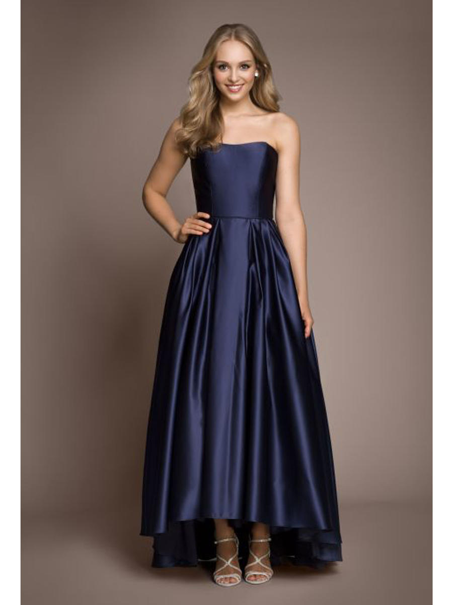 Betsy & Adam, Ltd. - Strapless Satin High-Low Gown