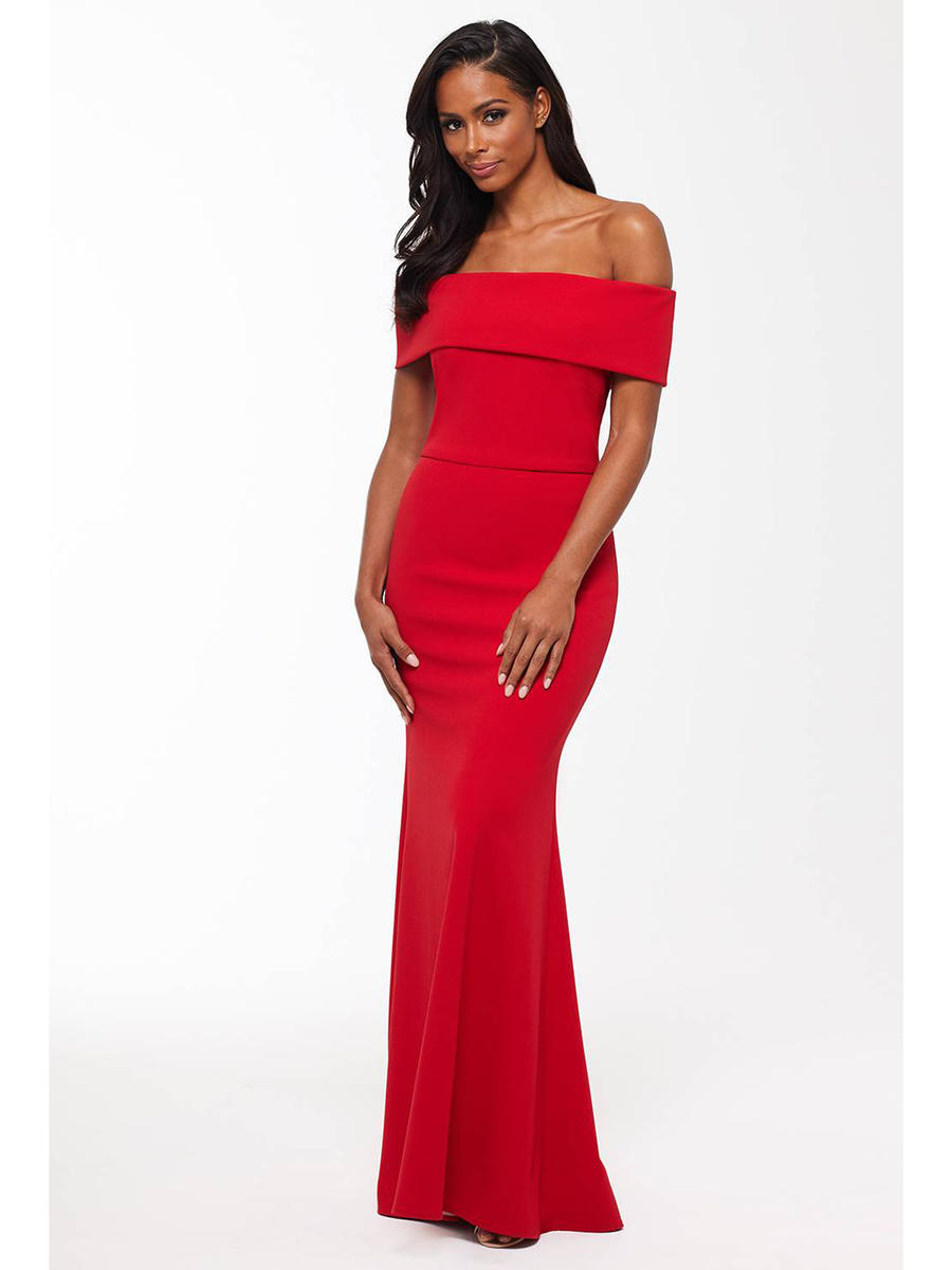 Betsy & Adam, Ltd. - Off Shoulder Gown-Back Ruffle