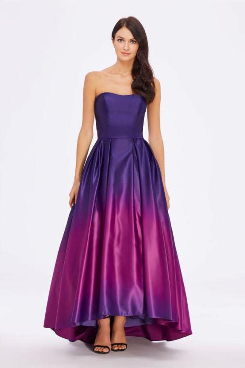Satin Strapless High Low Gown