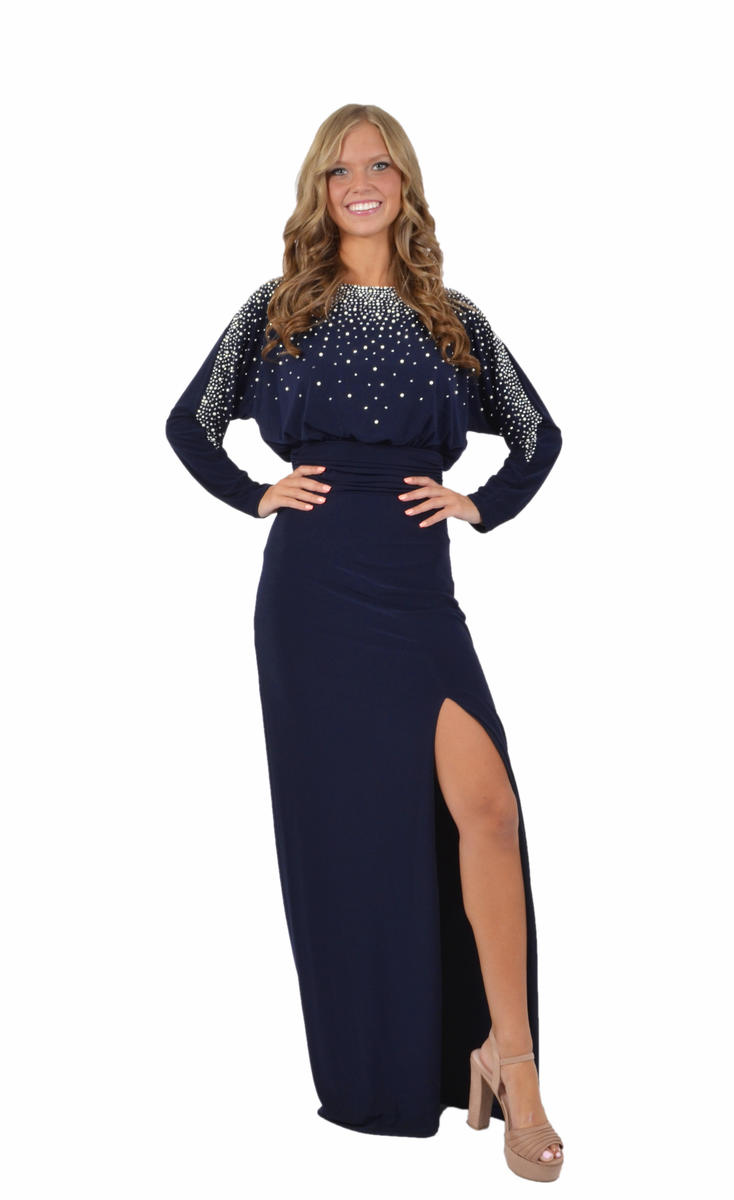 Pearl Embellished Jersey Gown