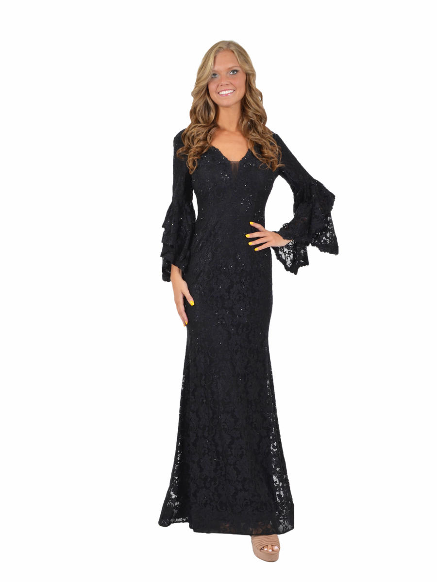 Lace Beaded Gown Long Sleeve