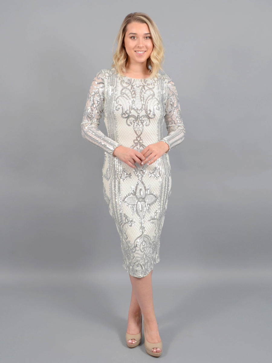 Betsy & Adam, Ltd. - Long Sleeve Sequin Dress