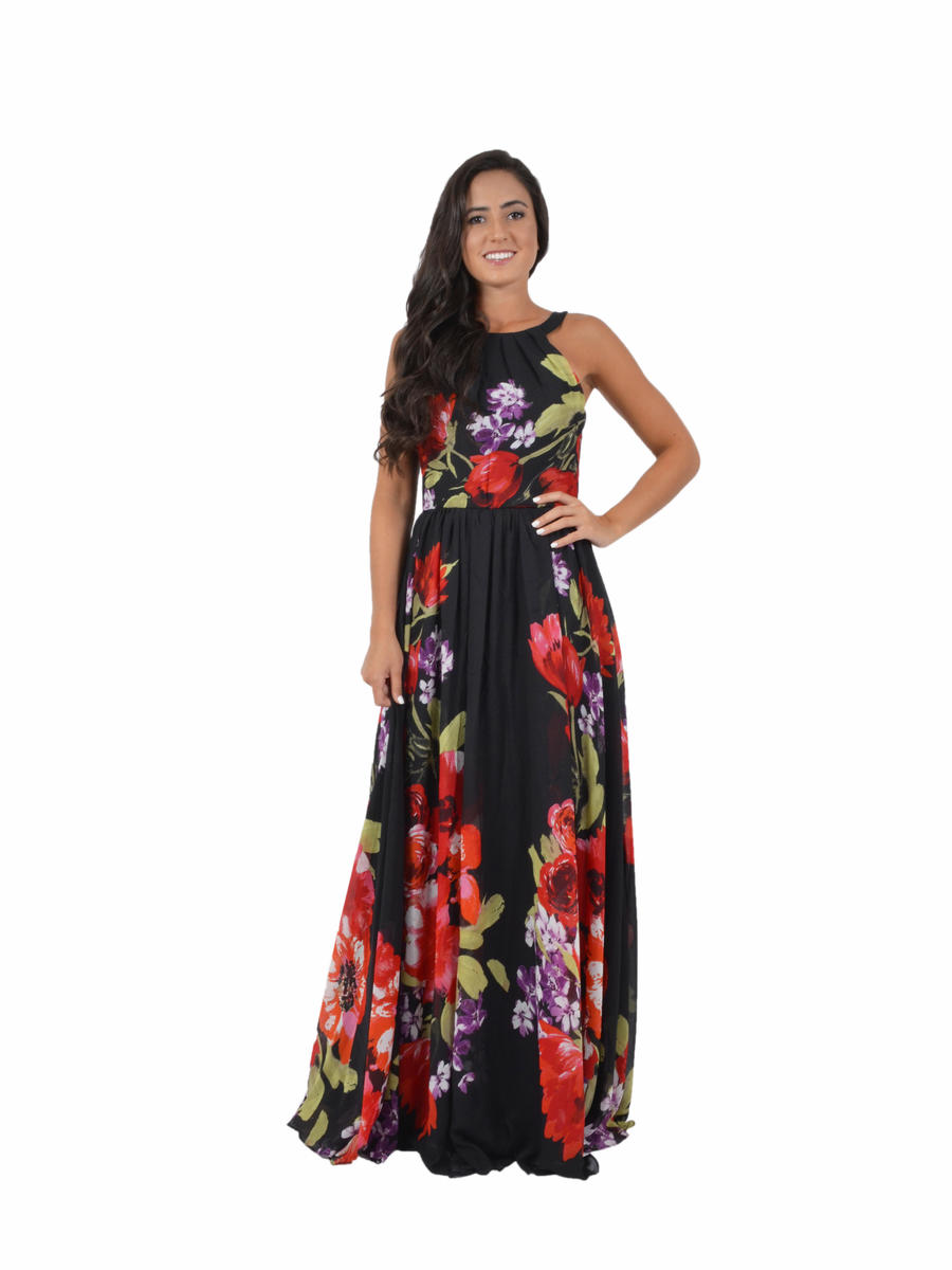 High Neck Floral Print Chiffon Gown
