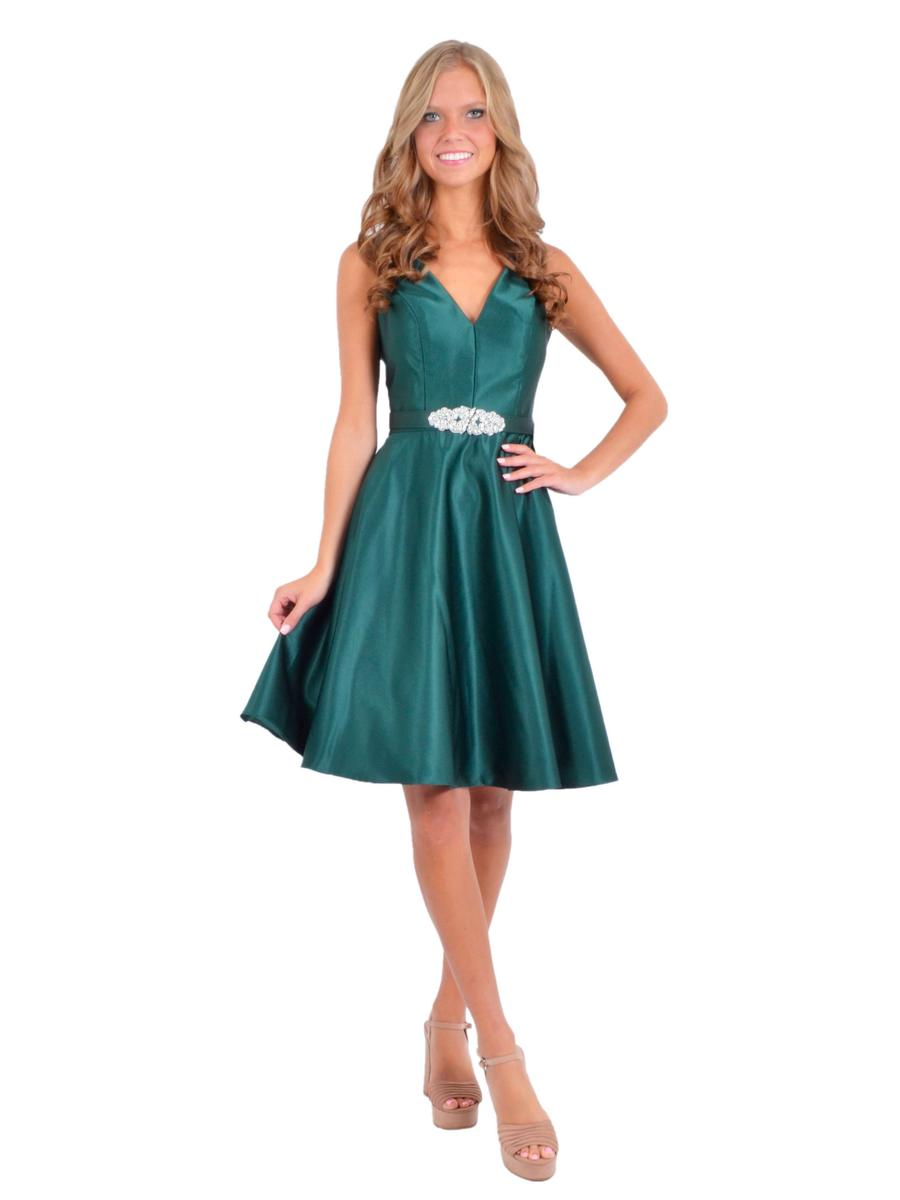 Betsy & Adam, Ltd. - Satin Fit & Flare Dress V-Neckline Rhinestone Belt