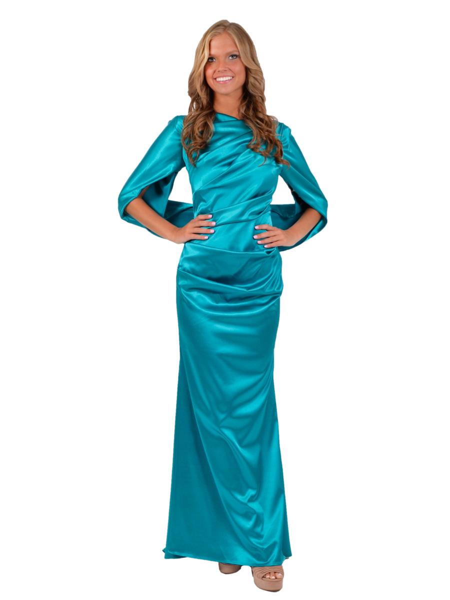 Betsy & Adam, Ltd. - Ruched Satin Wrap Waist Gown