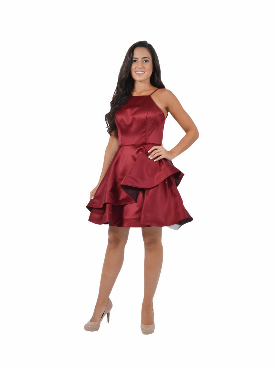Tiered Satin High Neck Fit & Flare Dress