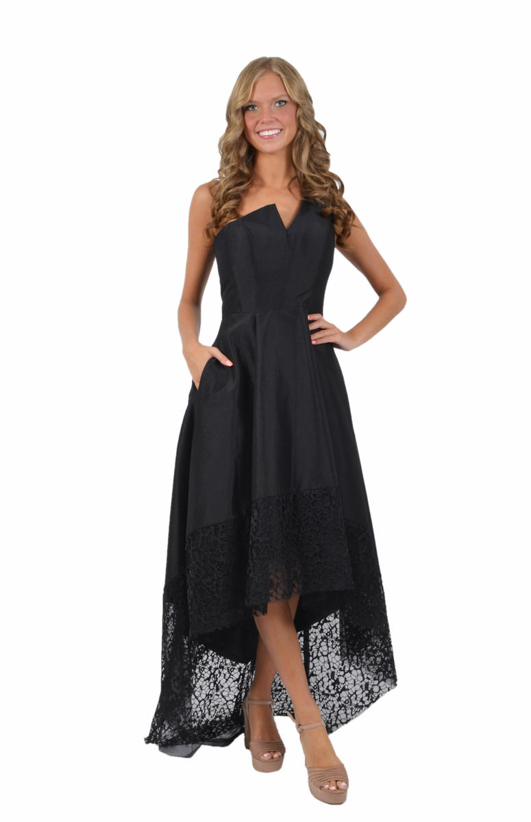 One Shoulder High Low Gown-Lace Hem
