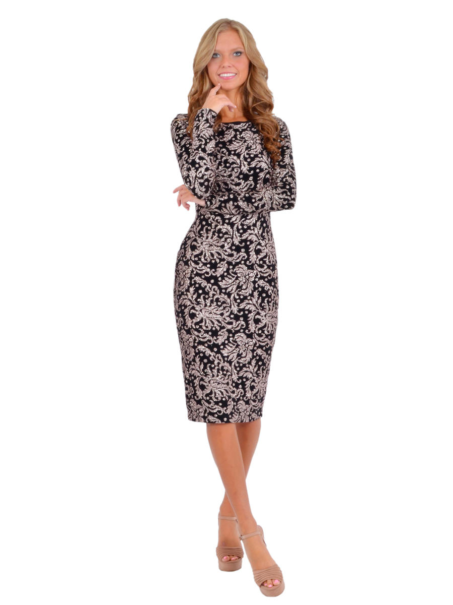Betsy & Adam, Ltd. - Long-Sleeved Metallic Sheath Dress