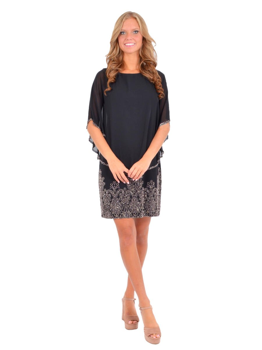 Betsy & Adam, Ltd. - Beaded Chiffon Half Sleeve Shift Dress