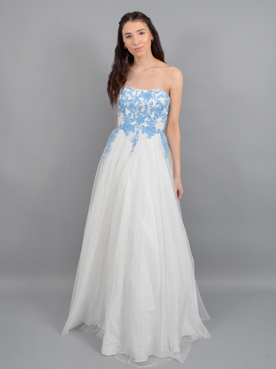 Betsy & Adam, Ltd. - Tulle Strapless Gown - Bead Bodice