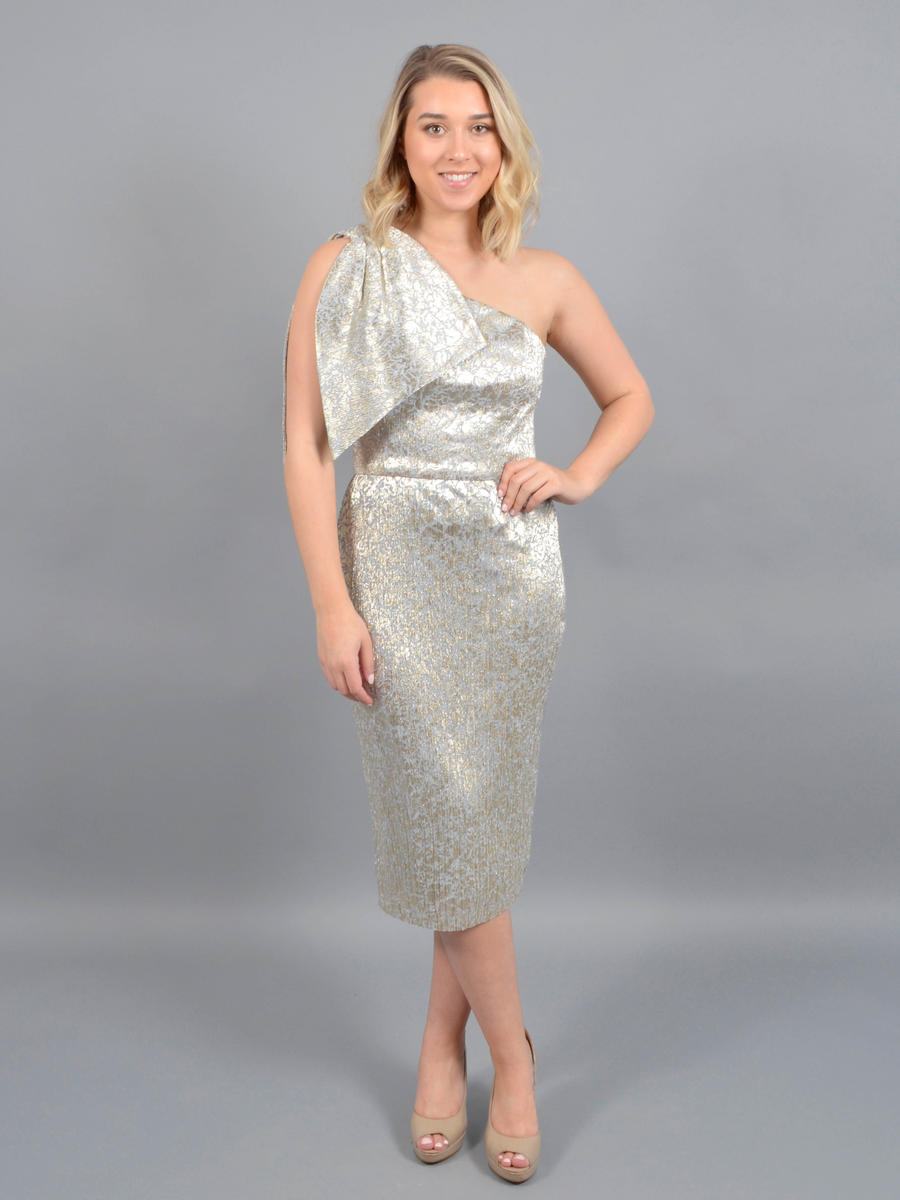 Betsy & Adam, Ltd. - Metallic Chiffon Dress-Ruffle One Shouider