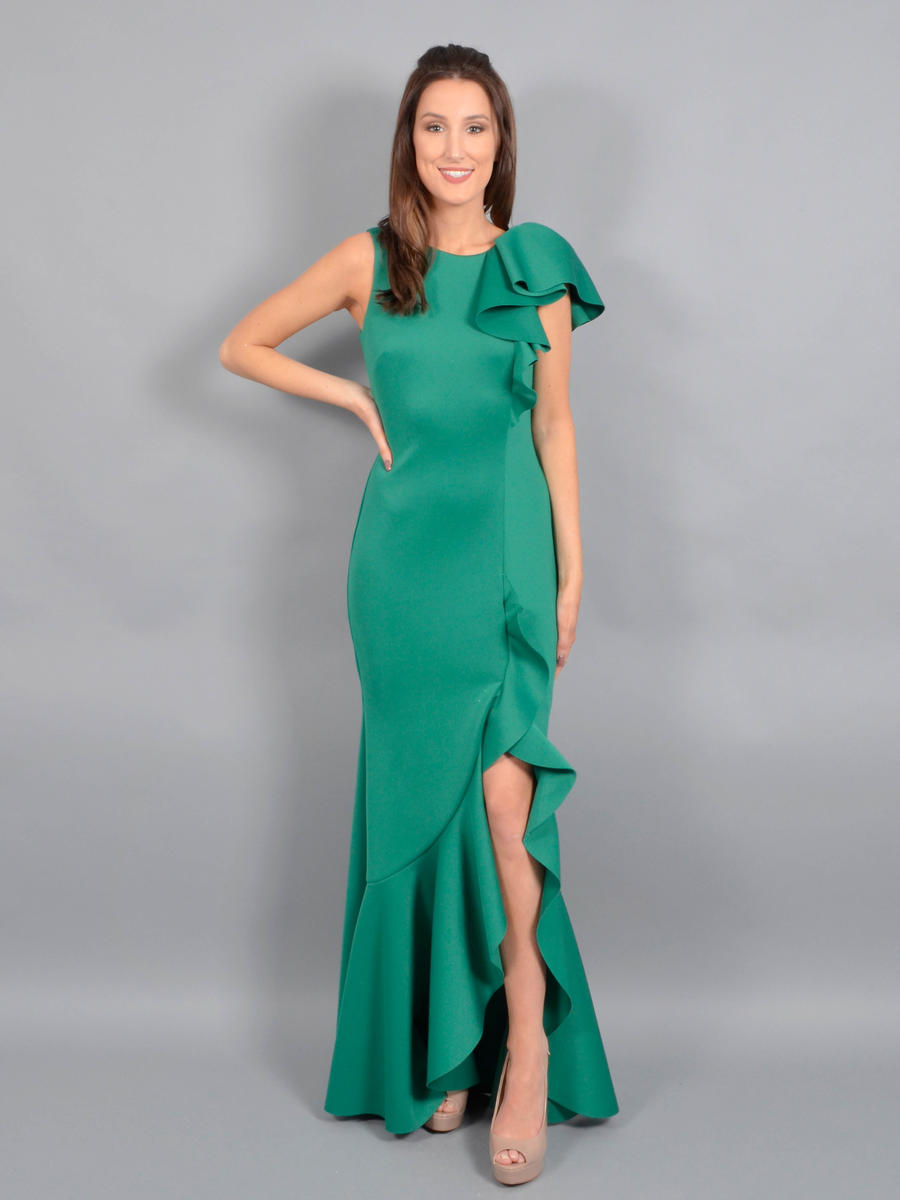 Betsy & Adam, Ltd. - Jersey Gown-Ruffle Trim