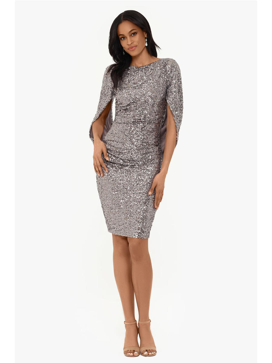 Betsy & Adam, Ltd. - Mesh Sequin Short Sleeve Dress