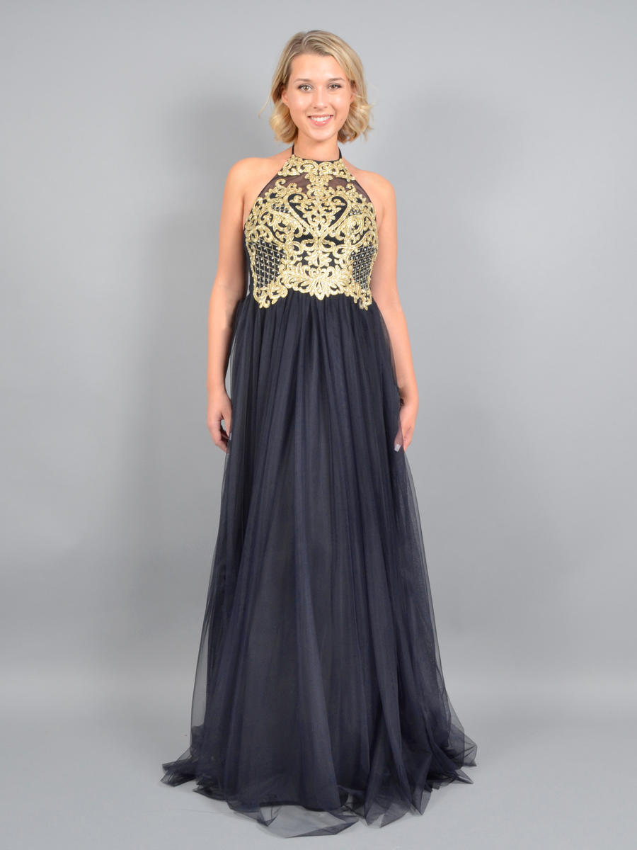 BLONDIE NITE - Embroidered Tulle A-Line Halter Gown