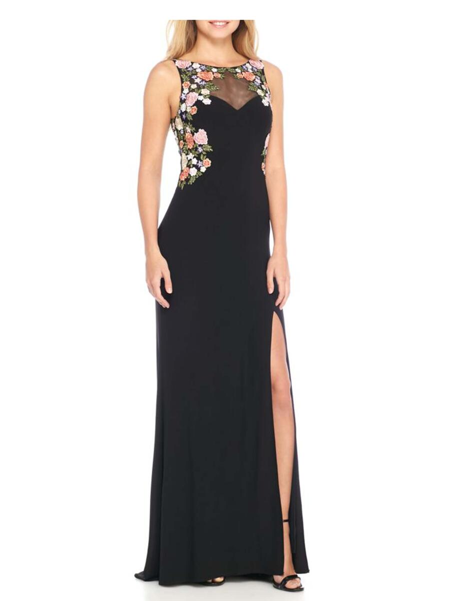 BLONDIE NITE - Floral Embroidered Jersey Illusion Gown