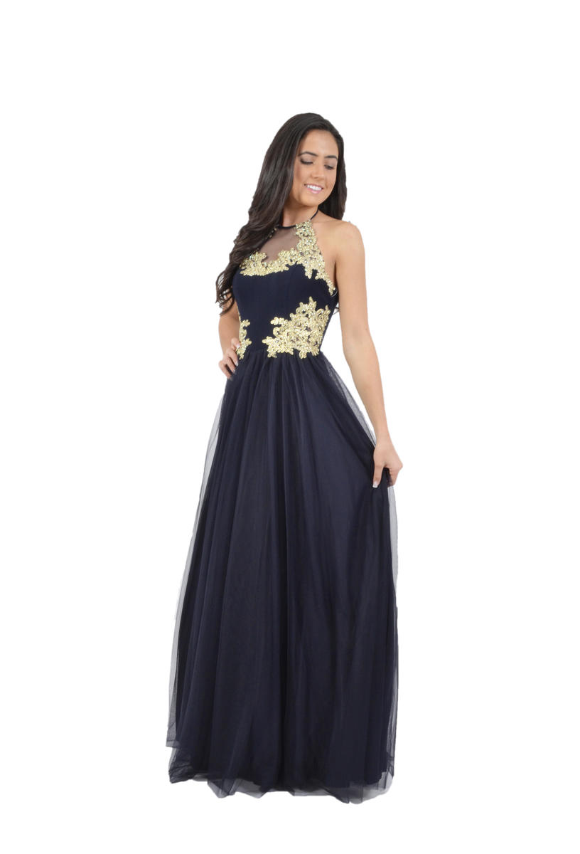 Mesh Gown Jersey Embroidered Bodice