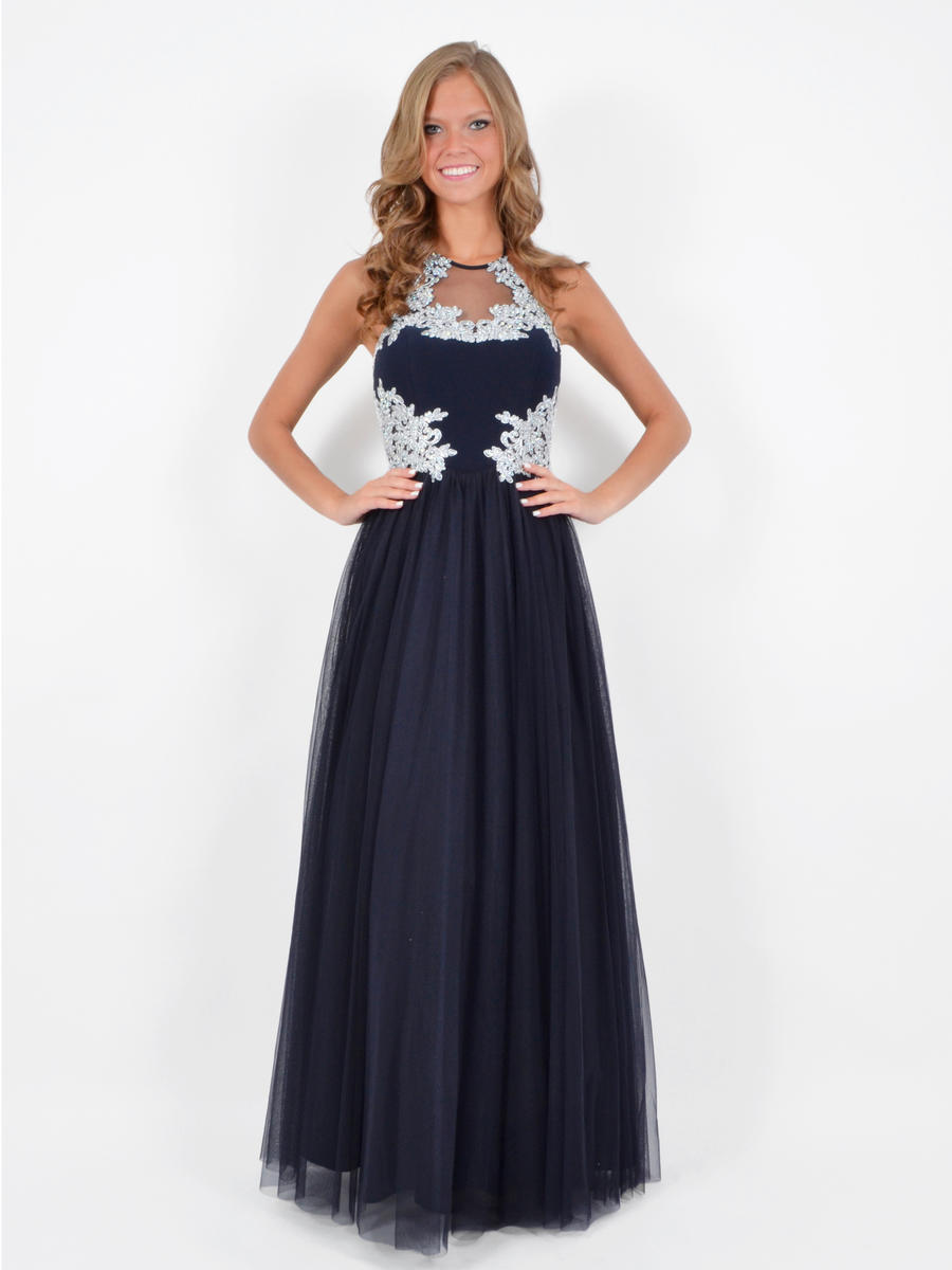 BLONDIE NITE - Embroidered Tulle A-Line Illusion Gown