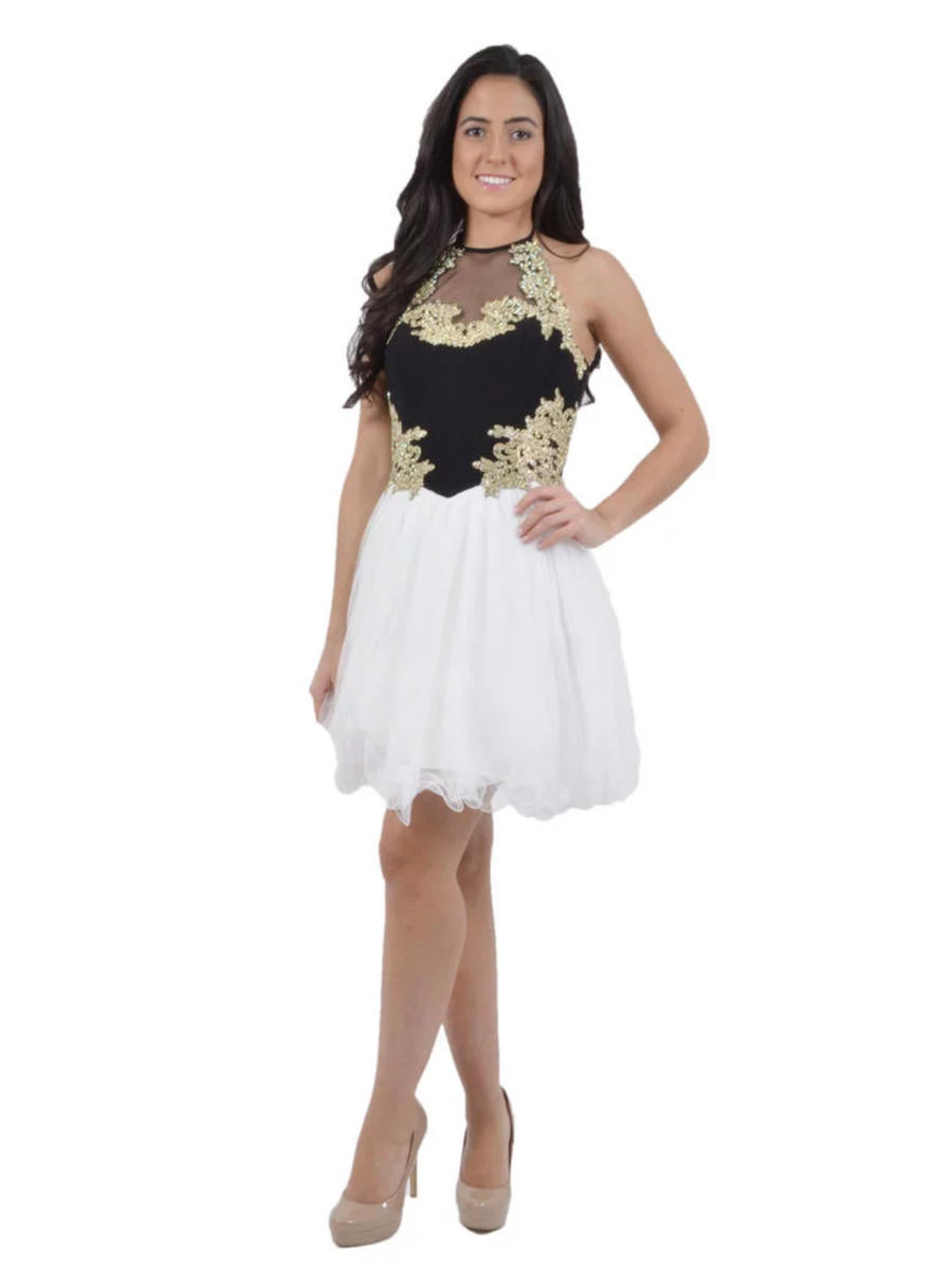 BLONDIE NITE - Embroidered Fit & Flare Illusion Dress