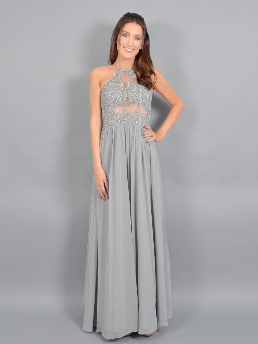 BLONDIE NITE - Chiffon Halter Gown-Embroidered Bead