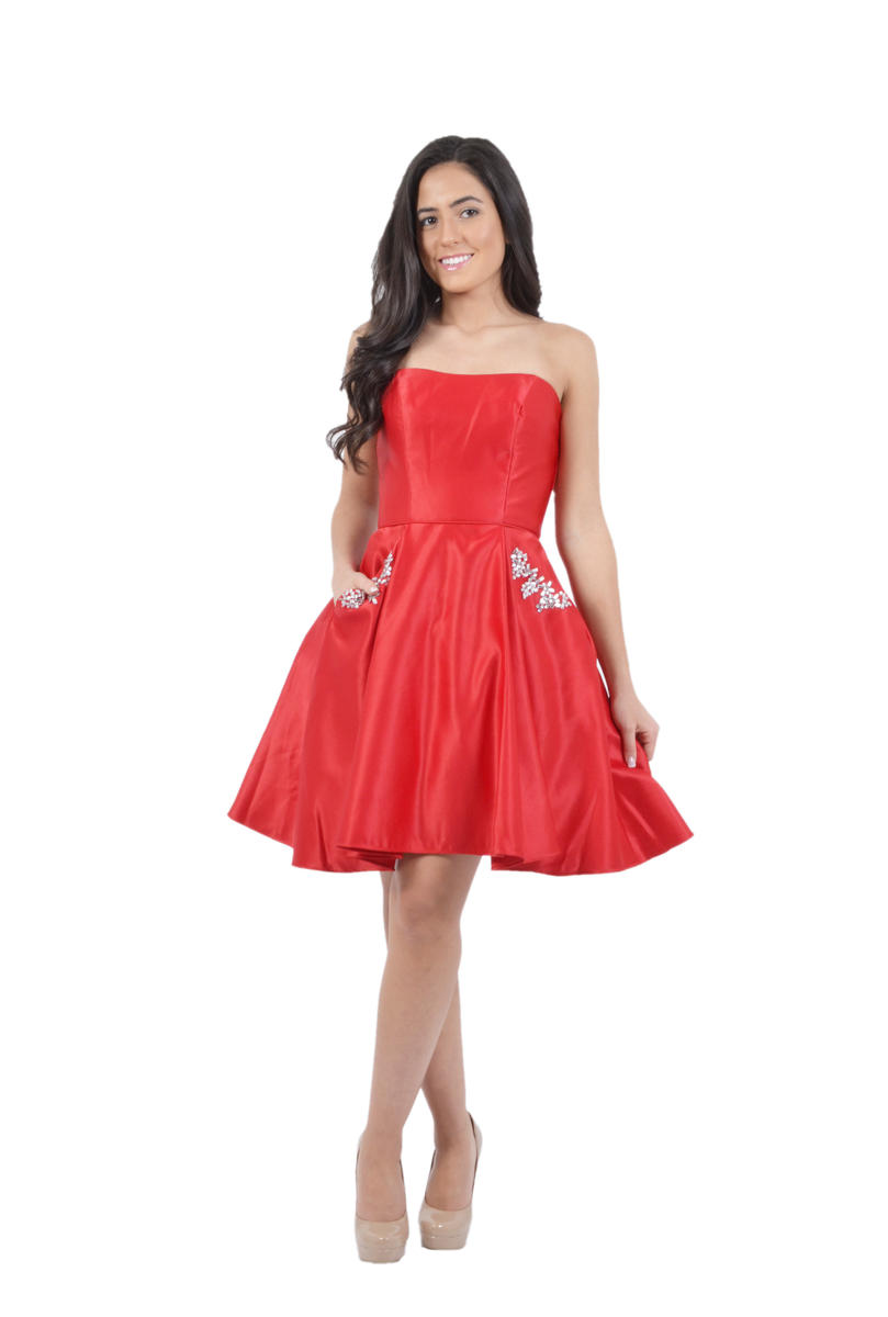 Satin Strapless Dress Beaded Pockets