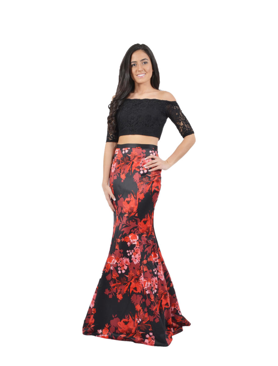 Two Piece Satin Print Skirt Lace Top