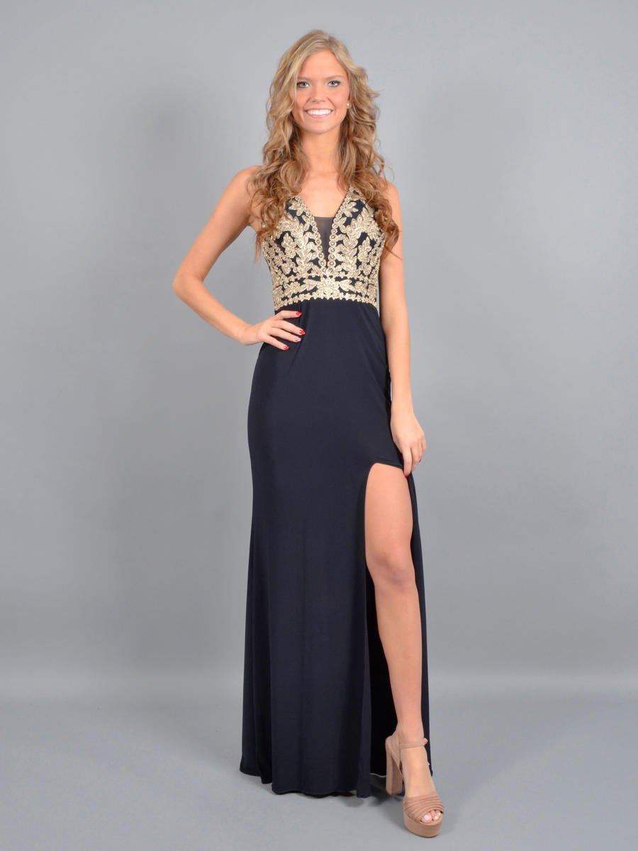 BLONDIE NITE - Jersey Embroidered Beaded Bodice Halter Neck Gown