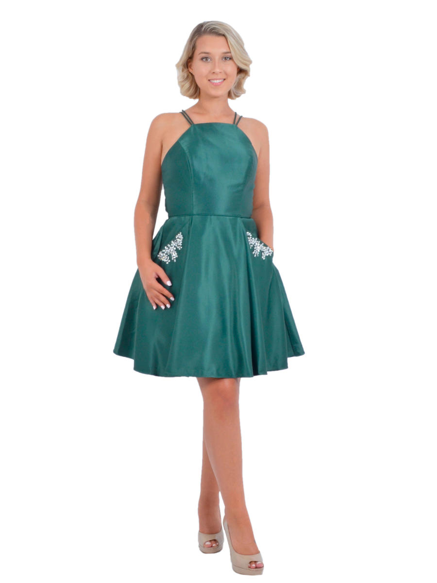 Gary - Satin Halter Neck Fit & Flare Dress