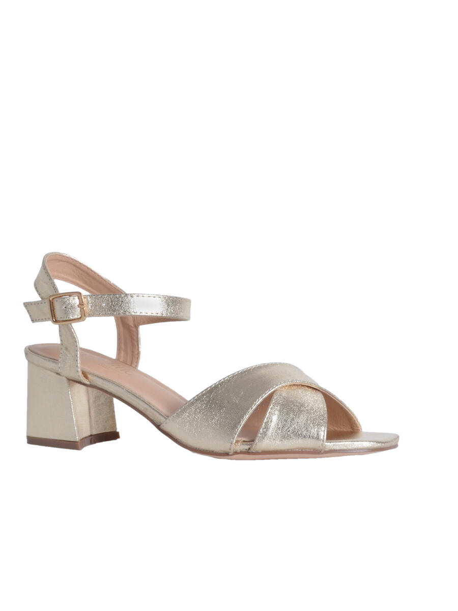 BLOSSOM FOOTWEAR, INC - Low Chunky Heel Metallic Gold