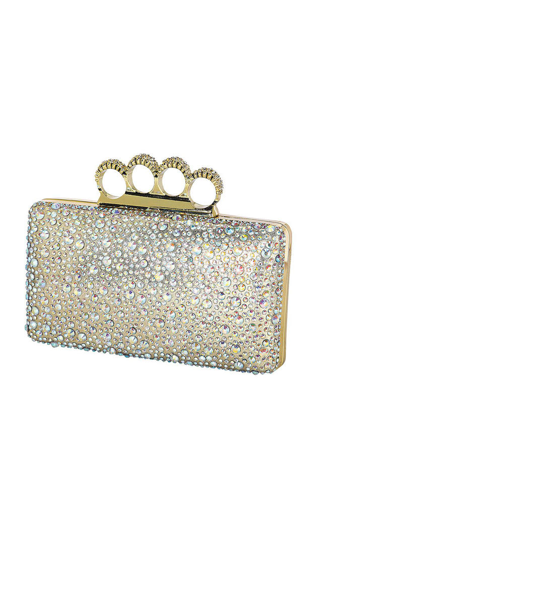 Rhinestone Metal Frame Knuckle Clutch