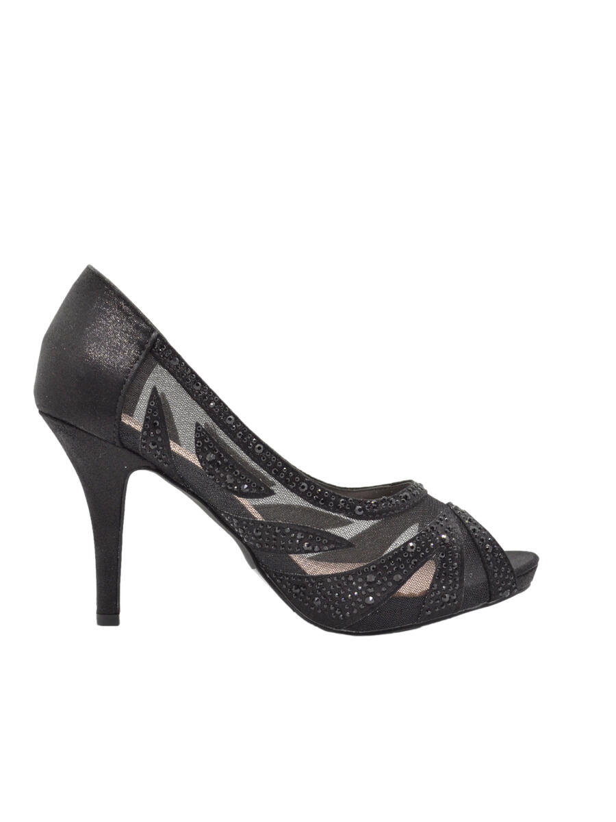 BLOSSOM FOOTWEAR, INC - High Heel Mesh Rhinestone Peep Toe Pump