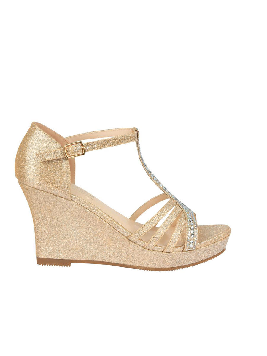 BLOSSOM FOOTWEAR, INC - Glitter Embellished T-Strap Wedge