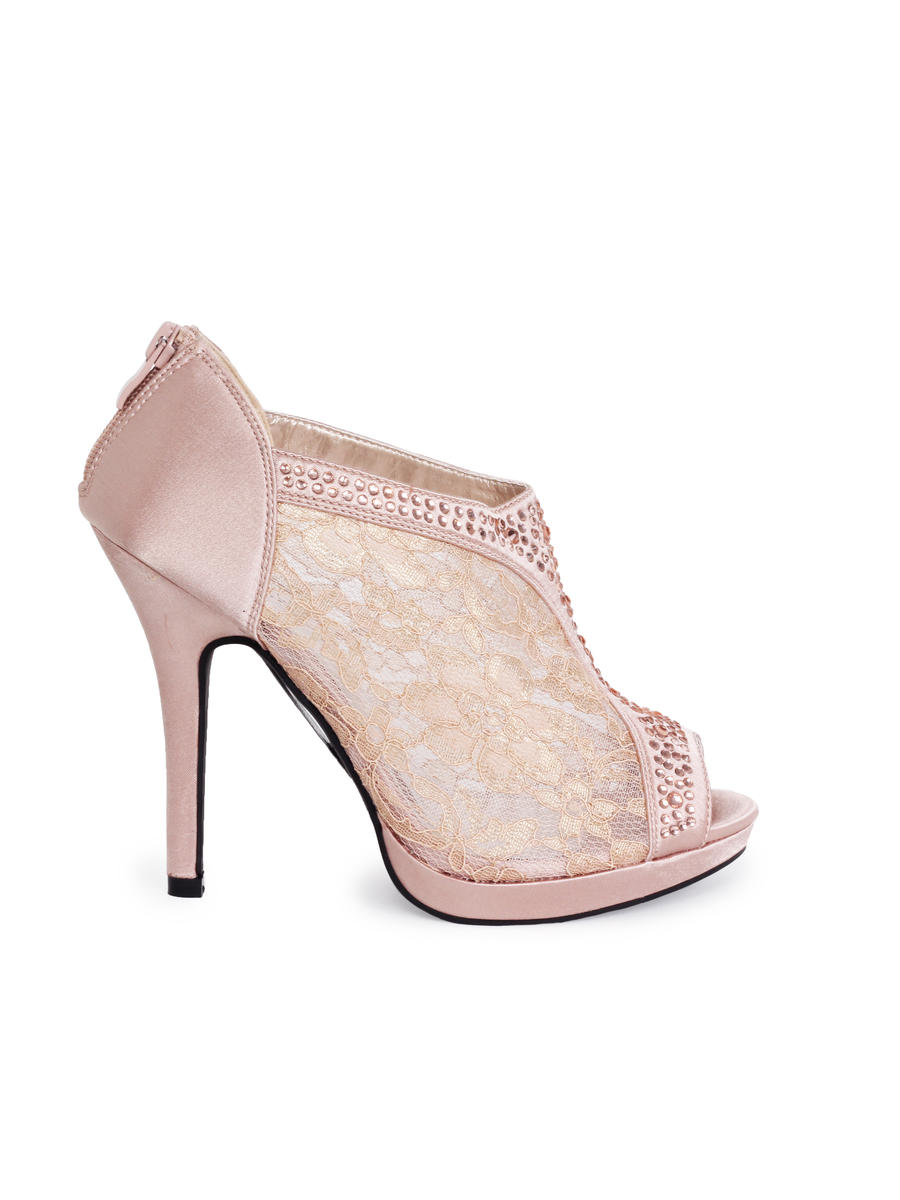 BLOSSOM FOOTWEAR, INC - Embellished Lace Peep-Toe Bootie